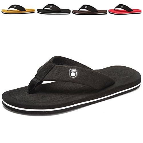 CIOR Men's Handmade Fashion Beach Slipper Indoor and Outdoor Classical Flip-flop Thong Sandals,Black01,48