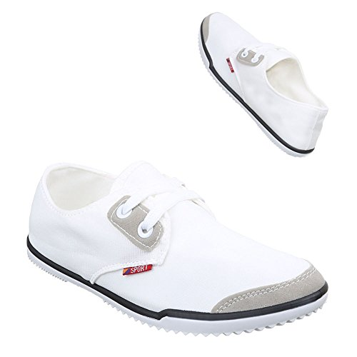 Ital-Design Women's Lace-Up Flats White a0Asy2HVsv