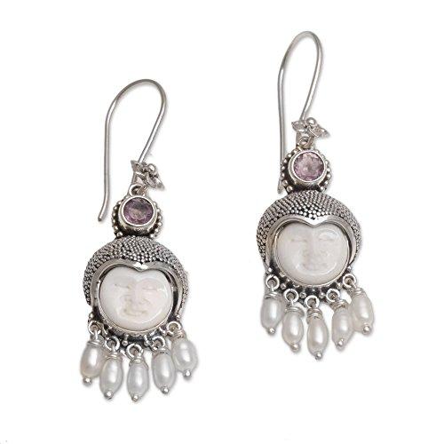 NOVICA Amethyst Cultured Freshwater Pearl .925 Silver Bone Dangle Earrings, Sunshine Princes