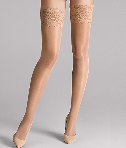 Wolford Satin Touch 20 Denier Evening Thigh Highs, Large, (Satin Mesh Thigh Highs)
