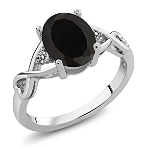 Sterling Silver Genuine Black Onyx & White Diamond 3-Stone Women's Ring (2.06 cttw, Center: 9X7MM Oval, Available in size 5, 6, 7, 8, 9)