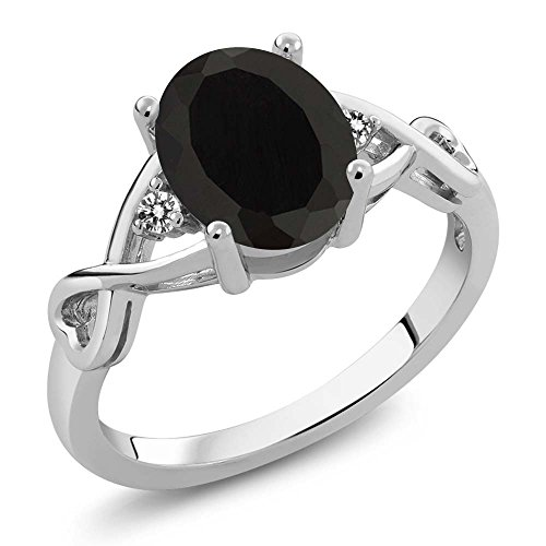 Sterling Silver Black Onyx & White Diamond 3-Stone Women's Ring 2.06 cttw Center: 9x7mm Oval (Size 6)
