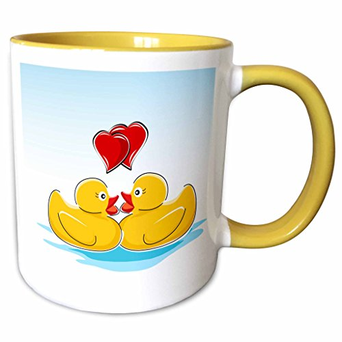 3dRose Anne Marie Baugh Patterns - Two Cute Yellow Rubber Ducks With Two Red Hearts - 15oz Two-Tone Yellow Mug (mug_125046_13)]()