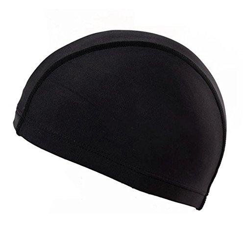 Hinmay Unisexe Bonnet de bain élastique solide Bonnet de bain pour adultes, Noir