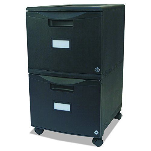 Filing 2 Cabinets Mobile - Storex 61309B01C Two-Drawer Mobile Filing Cabinet, 14-3/4w x 18-1/4d x 26h, Black (STX61309B01C)