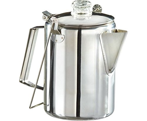 Stainless Steel Field & Stream 9-Cup Coffee Percolator, Features a Lid to Keep Coffee Hot and Bugs Away, Plus a Glass, PercView Knob by Field & Stream