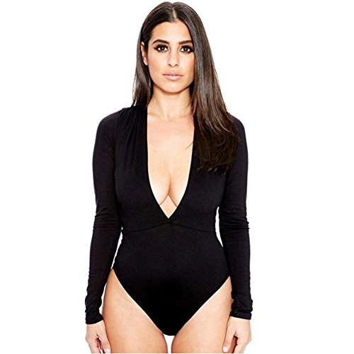 Flank Women Casual Long Sleeve V Neck Jumpsuit Bodysuit Rompers (M, Black)