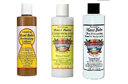 Maui Babe 8oz Browning, After Browning, and Hand and Body Lotion 3 Piece Set - 3 Piece Tanning Set