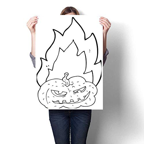 bybyhome Canvas Prints Wall Art Black and White Cartoon Flaming Halloween Pumpkin Decorative Fine Art Canvas Print Poster K 32