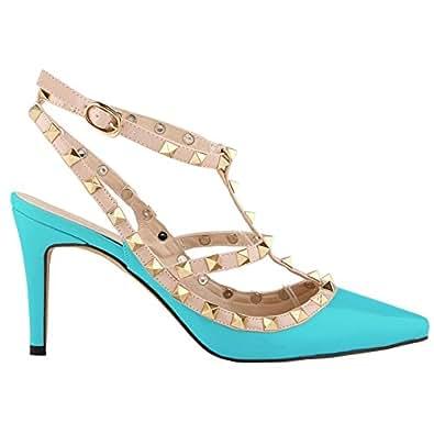 Loslandifen Ladies High Heels Party Wedding Count Pump Shoes (NX952-3PA-lan-35)