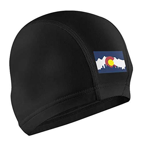 Lokjjtvfrxcgtg Colorado Flag Unisex Swim Caps Waterproof Premium Earmuffs Protective PU Coating Air Permeability and Elasticity Hair Cover