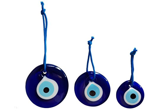 Erbulus Turkish Glass Evil Eye Wall Hanging Ornament - Home Protection Charm - Wall Decor Amulet Set of 3