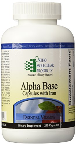 Ortho Molecular Products Alpha Base Capsules with Iron, 240 Count