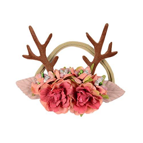 Love Sweety Baby Antler Headband Newborn Rose Floral Crown Wreath Berry Headpiece (Pink Ribbon Berries)