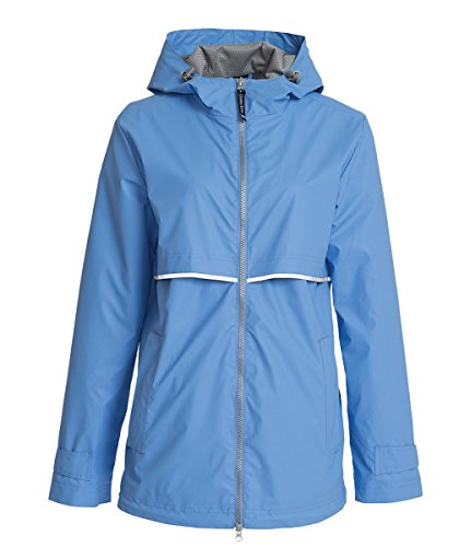 River Apparel Monogrammed Women's New Englander Rain Jacket-Periwinkle-Medium ()