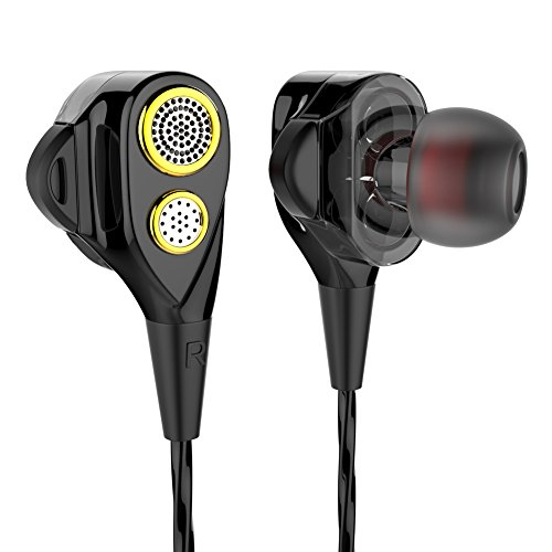 in-Ear Headphones Earbuds High Resolution Heavy Bass and Noise Isolating with Mic for iPhone iPod iPad Samsung Galaxy LG HTC (Black)