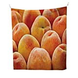 Peachsimple tapestryClose up Photo of Newly Picked Nutritious Fruit in a Market Fuzzy Skin Sweet Taste 60W x 91L inch Art tapestryOrange Yellow