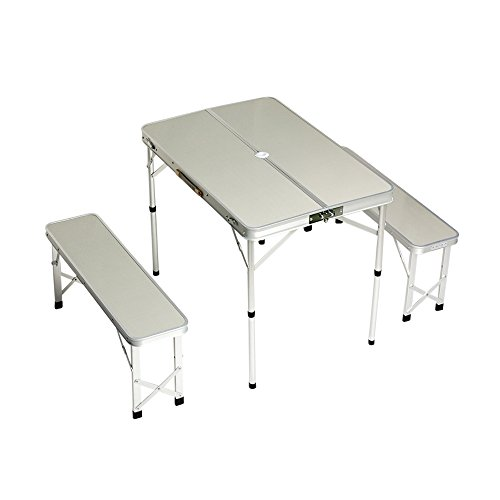 Plixio Folding Aluminum Picnic Table with Bench Seats – Camping Table