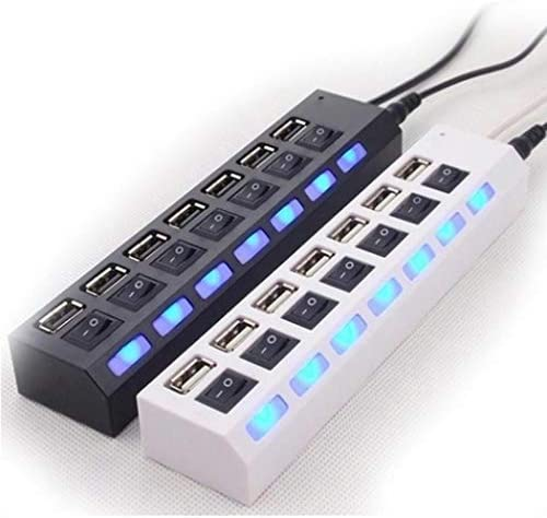 Geciea 7 Ports LED USB Adapter Hub Power on//Off Switch for PC Laptop Hubs White