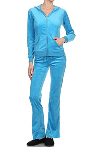 Velour Tracksuit Costume (ViiViiKay Women's Soft Velour Tracksuit Athletic Zip Up Hoodie & Sweat Pants Set 001_TURQUOISE M)