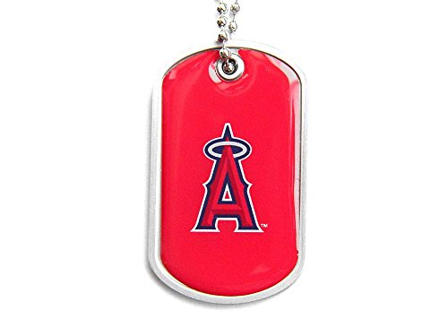 aminco LA Angels of Anaheim Dog Tag Domed Necklace Charm Chain Mlb