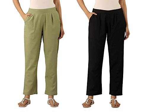 DIGITAL SHOPEE Women Ankle Length Cotton Blend Two Side Pocket Casual Trouser, Combo Pack of 2