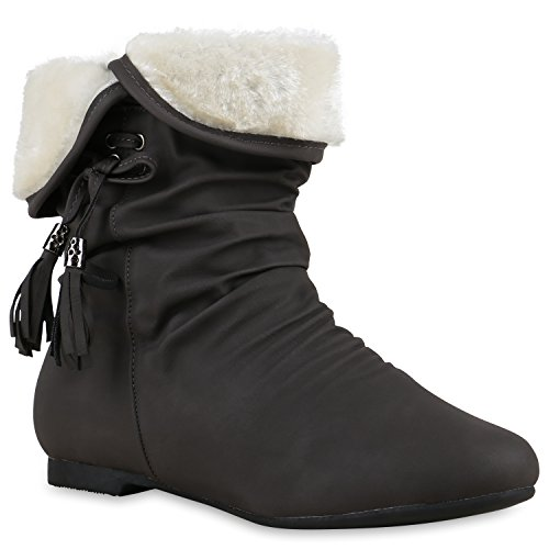 Stiefelparadies Warm Gefütterte Damen Stiefeletten Schlupfstiefel Flache Boots Flandell Grau