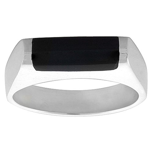 Sterling Silver Black Obsidian Ring for Men Half Tube Thin Solid Back Handmade, size 9