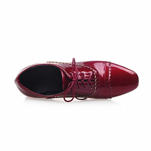 Heel toe Red Square Chunky Lace Latasa Oxford Shoes Fashion up Mid Women's tqFU8wUP