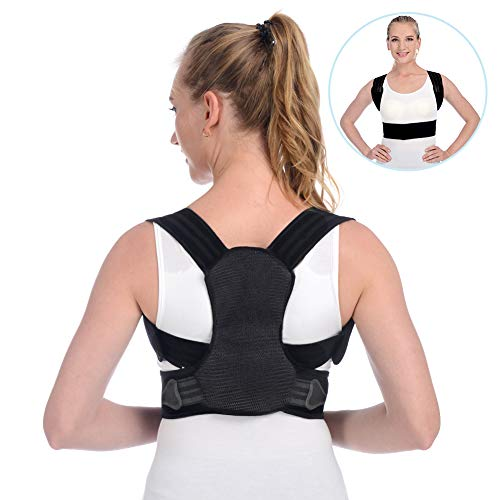 Anoopsyche Posture Corrector for Women Men Upper Back Brace and Provide Clavicle Support for Thoracic Kyphosis and Shoulder Neck Pain Relief (Medium 27.6-39.4 inch) (Best Upper Back Support Brace)