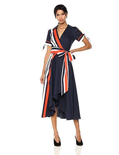 MILLY Women's Valerie Dress, Navy Multi, 6 (Dress Milly Cotton)