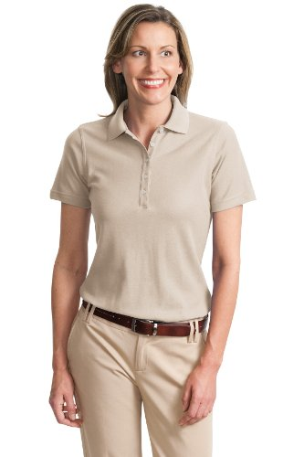 Port Authority Ladies Cotton Pique Knit Sport Shirt, 4XL, Oyster
