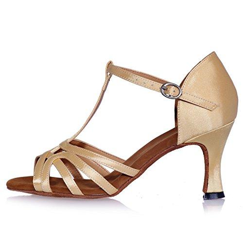 Sandals da Elobaby Samba da Modern 5cm Heel Ballo Jazz Alti Donna 7 Toes Tacchi Scarpe Peep Gold BBTqw7g
