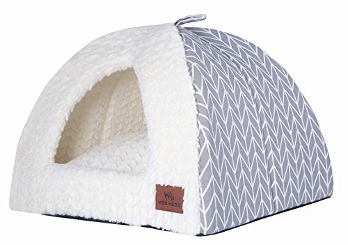 Miss Meow Cat Dog Tent Triangle Pet Bed Removable Cushion Cover Two Way Conversion 18″x18″x18″(Large, Gray Arrow)