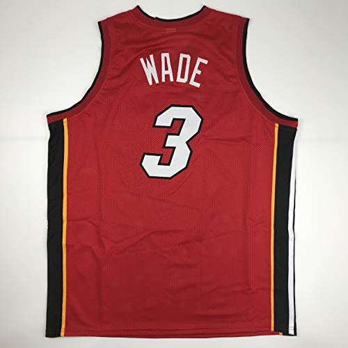 (Unsigned Dwyane Wade Miami Red Custom Stitched Basketball Jersey Size Men's XL New No Brands/Logos)