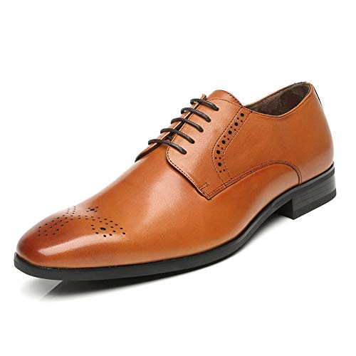 Men's Leather Oxford Dress Shoes - Lace up Formal Modern Shoes