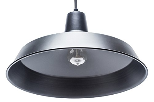 Globe Electric Barnyard 1-Light 16'' Industrial Warehouse Pendant, Matte Black Finish, 65155 by Globe Electric (Image #2)