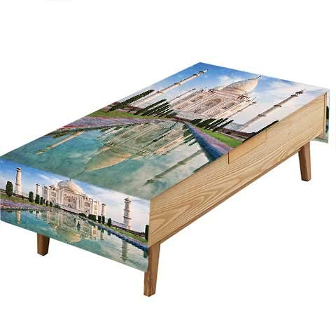 PINAFORE 100% Polyester, Eco-Friendly Safe Collection Taj Mahal in Sunrise Light Agra India History Love Story Emperor Landscape Heat Moisture Resistance Indoor Outdoor Table Covers W52 x L70 INCH