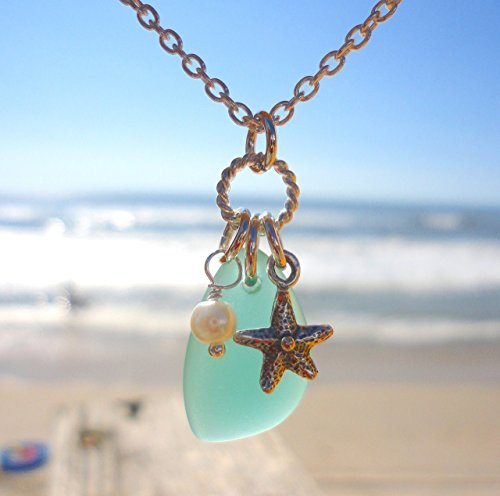 Beautiful SEA GLASS Charm Necklace - Green-Blue Cultured Sea Glass - Sterling Silver 18