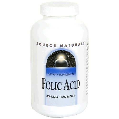 Source Naturals acide folique, 800mcg, 1000 comprimés (lot de 2)