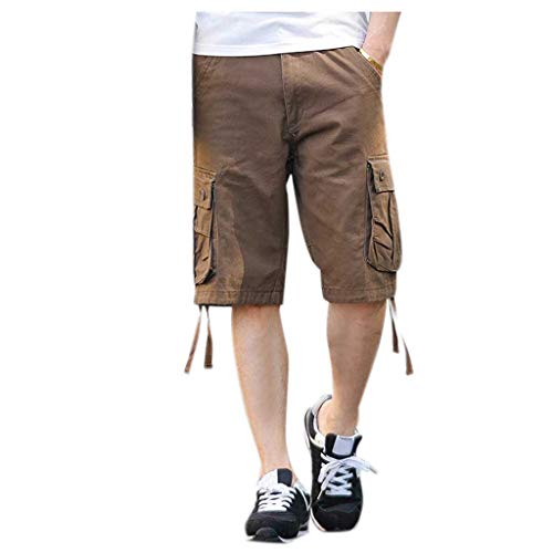 New Pant Wool Belted - XLnuln Men's New Dungarees Belted Cargo Short Style Cotton Multi-Pocket Overalls Shorts Fashion Pant Coffee