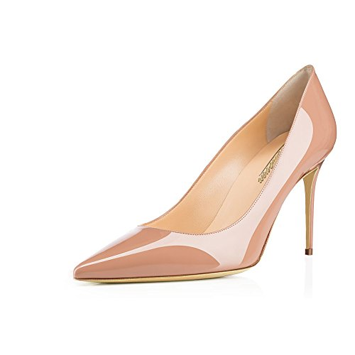 Modemoven Women's Beige Pointed Toe Pumps Slip-on Office Business High Heels Sexy Stiletto Shoes 6 M US Beige Leather Heels