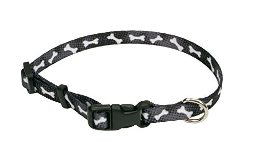 Coastal Pet Products DCP6321BBO Nylon Pet Attire Adjustable Pattern Dog Collar, X-Small, Black Bones