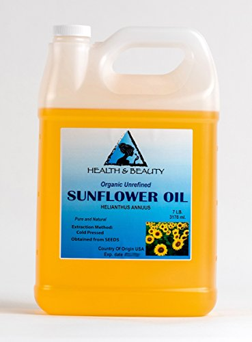 Sunflower Oil Unrefined Organic Carrier Cold Pressed Pure 128 oz, 7 LB, 1 gal