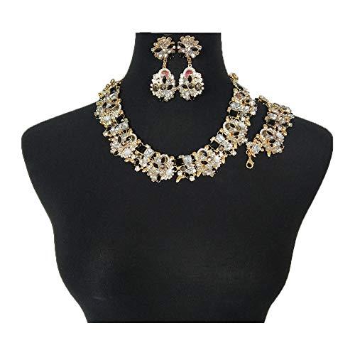 NABROJ Vintage Statement Choker Necklace Bracelet Earrings Set Costume Jewelry for Women Black and White-HLN001 Black and White 3pcs Set