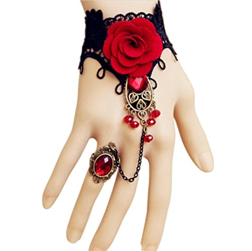 Wedding Lace Chain Bracelets Party Bangles with Rings Halloween - 9