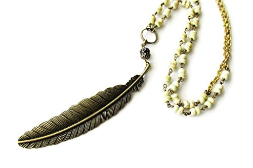 Very Long Bronze Metal Feather And Gemstone Beaded Bohemian Style Necklace For Women