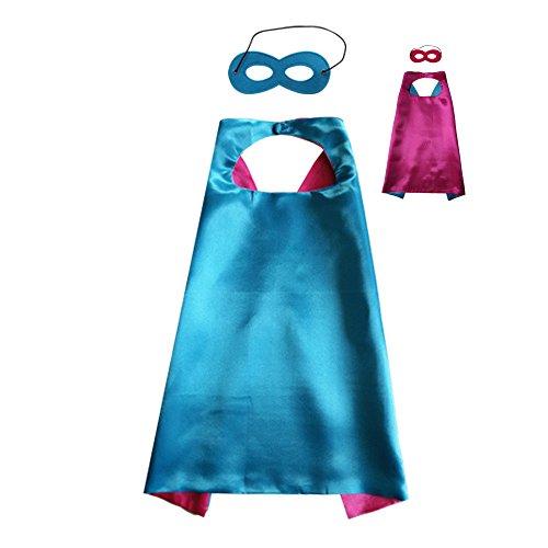 So Sydney Superhero Princess SOLID Color CAPE & MASK SET Kids Halloween Costume (Blue & Hot Pink)
