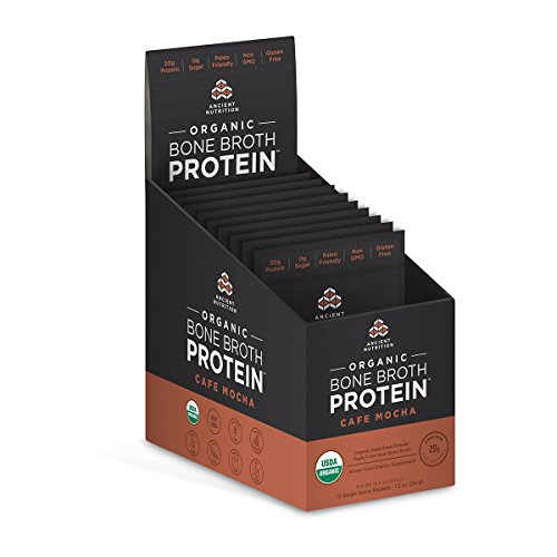 Ancient Nutrition Organic Bone Broth Protein Powder, Café Mocha Flavor, 12 Single Packets - Organic, Gut-Friendly, Paleo-Friendly