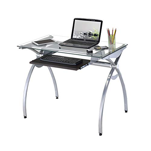 Techni Mobili RTA-00397B-GLS Contempo Glass Top Computer Desk with Pull Out Keyboard Panel, Clear
